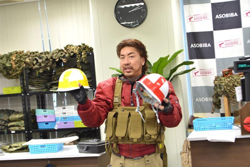 ▲モイラ役はヘルメットを着用。発光するため、相手に位置を知らせてしまう。