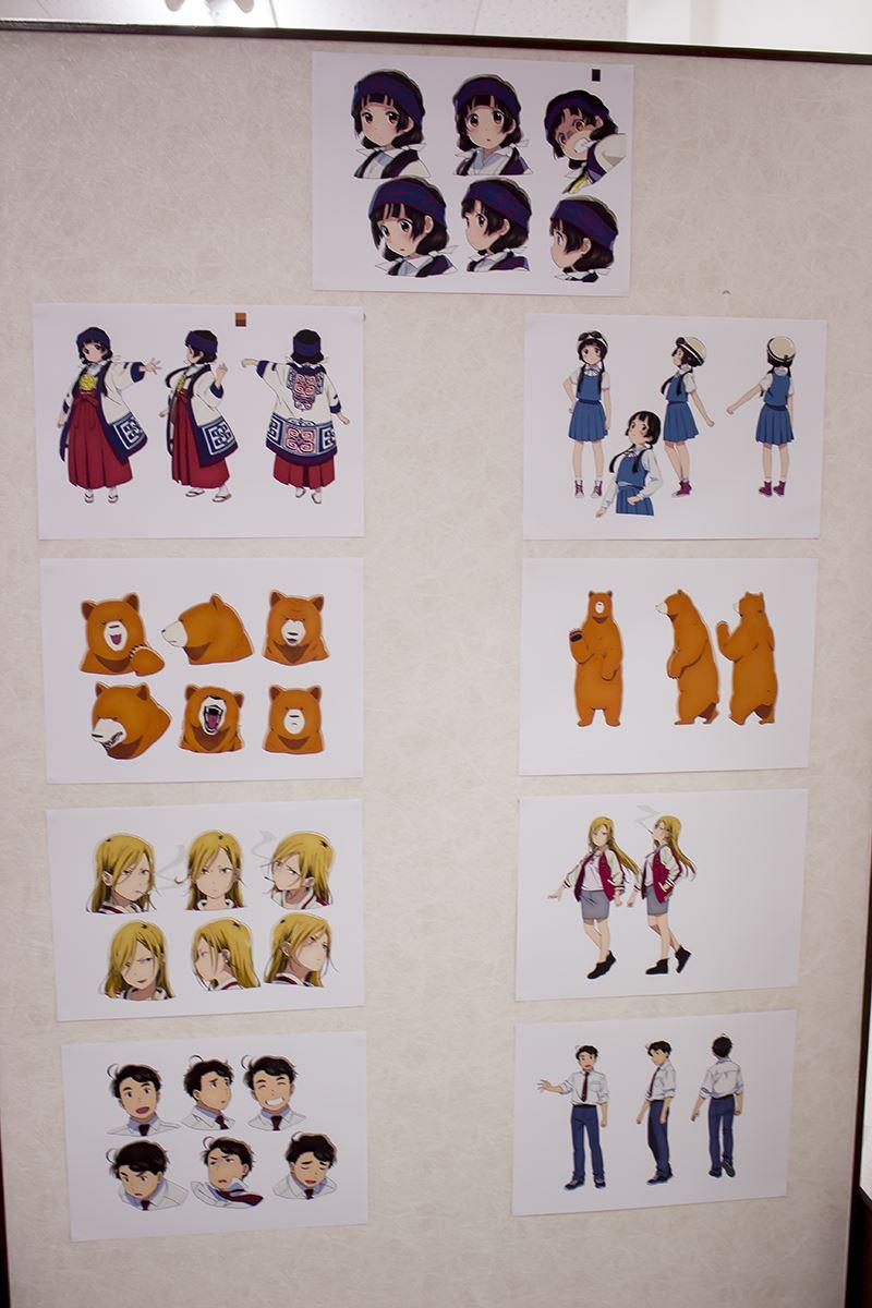 ▲キャラクターやOPの場面写、設定画なども展示。
