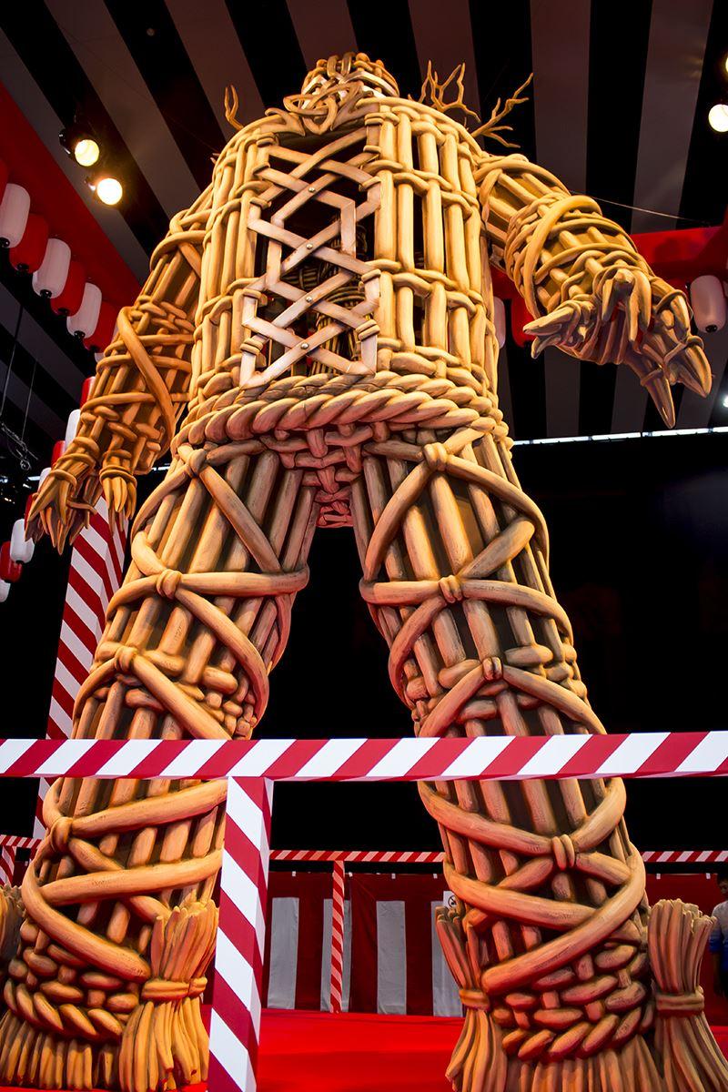 ▲会場内では5メートルのウィッカーマンも展示。
