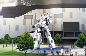 記者に配布されたダイバーシティ東京プラザ前の実物大、ユニコーンガンダムのイメージ。これはデストロイモードとなっている。